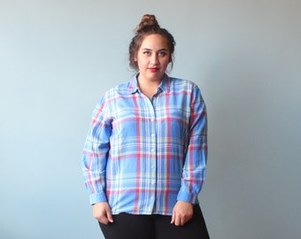 plus size top / long sleeve plaid blouse / 1980s / XXL
