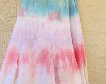 rainbow tie dye skirt lightweight cotton skirt upcycled for waist 30-40