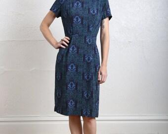 SALE- 1950s Folk Printed Dress
