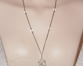 20s 30s Vintage Art Deco Czech Necklace Clear Crystal and Rhinestones