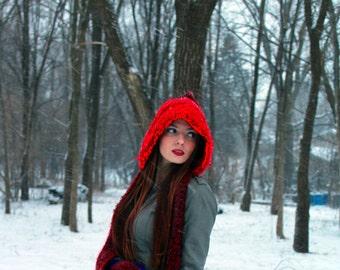 Red and Burgundy  Skood Hooded Scarf