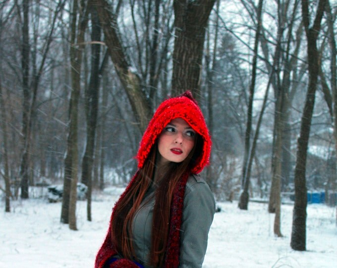 Red and Burgundy  Skood Hooded Scarf