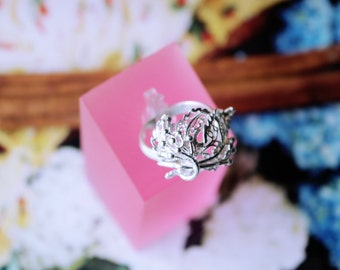 Ring made of sterling silver filigree leaft