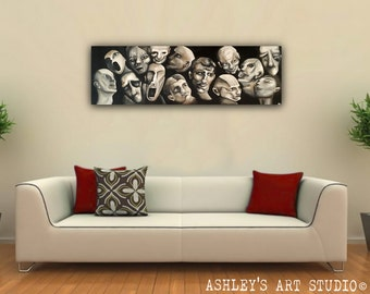 """Oil painting disturbing Creepy Faces from beyond painting - black and white monotone Original Oil Painting 36"""" x 12"""" - Hand Painted"""