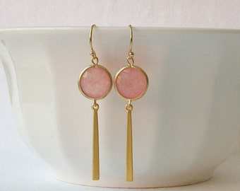 Pink Crystal Gold Drop Earrings, Mother's Day Gift