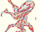 Yoga Art -- Original color drawing on paper // On the Head