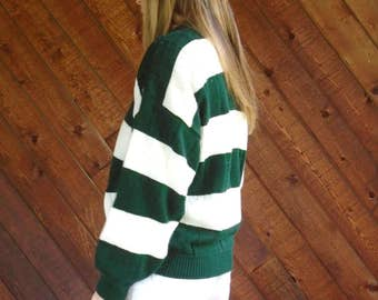 Green and White Stripe Knit Sweater - Vintage 80s - MEDIUM
