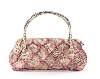 Italian Leather Purse BERGE Basketweave Leather Snakeskin Authentic Designer Bag