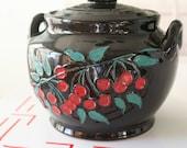 Pottery Crock Cookie Jar with Painted Cherries