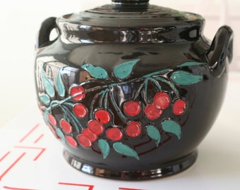 Pottery Crock Cookie Jar with Painted Cherries