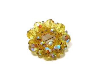 Vintage Fiery Brooch | Classic Round Pin | Lemon Yellow | Aurora Borealis | Faceted Crystals |  Wedding Bouquet Brooch | Costume Jewelry