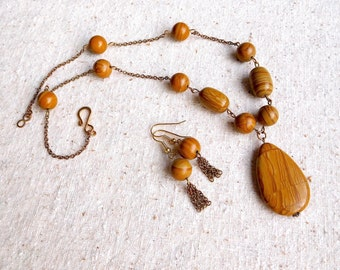 Natural Tigerskin Jasper Pendant Necklace & Earrings Set (Item W 29)