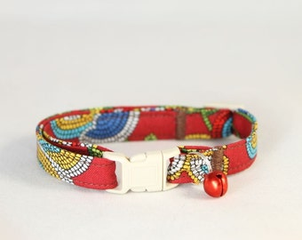 Fiesta Red Cat Collar with Any Color Bell or Charm