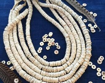 Ostrich Egg : Natural Cream White Ostrich Egg Shell Beads, Heishi Disc Beads from Kenya, Full Strand w/ 250 beads plus, 10-12x1.5mm