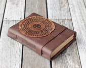 Leather Journal with Mandala Design, Rustic Travel Diary, Sketchbook