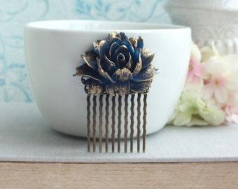 Blue Wedding Comb Navy Blue Gold Flower Comb Antiqued Rustic Blue Fall Vintage Blue Gold Wedding Something Blue Wedding Vintage Gold Wedding