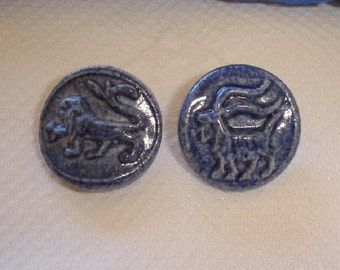 Vintage Ceramic Buttons, unusual picture Buttons - Lion and Goat