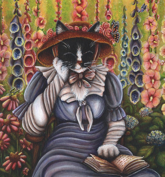 Cottage Garden Cat  5x7 Fine Art Print