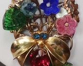 Vintage Necklace with Glass Flowers and Czech Glass Bee--OOAK