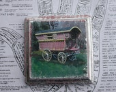RESERVED FOR VIKKI Caravan, Original, Miniature Art, Square, 4 x 4, Gypsy Wagon, Vardo, Red, Silver, Boho, Unique, Fine Art