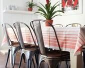 Vintage European  Linen Tablecloth / Striped Metis Linen / Mangle Cloth / Rustic Modern