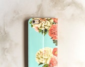 iPhone 6 Wallet Case Peony Bunch on Blue, iPhone 6S Plus Floral Womens Wallet