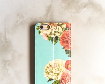 iPhone 7 Wallet Case Peony Bunch on Blue, iPhone 6S Plus Floral Womens Wallet