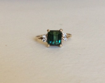 Blue-Green TOURMALINE and diamond 14k gold ring