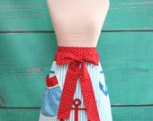 Towel Apron - Summer Nautical Apron - Boat Anchors - Red, White & Blue