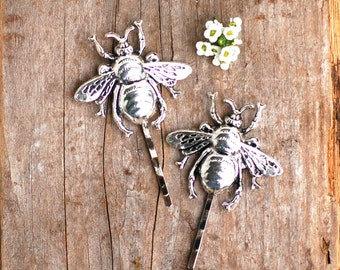 Bee Bobby Pins, Silver Bee Hair Pins, Bumblebee Hair Accessories, Woodland Wedding, Honeybee, Gift for Her, Garden Wedding,  Bridal Hair