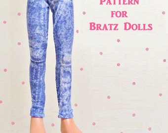 Leggings For Bratz Dolls Pattern Tutorial Pictorial PDF Doll Clothes Ankle Length and Capri Length Fits Bratz  Dolls