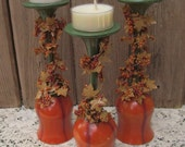 Thanksgiving Glass Candle Holders Set of 3