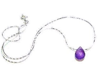 Sterling Silver Faceted Amethyst  Necklace  ,  Genuine Amethyst Gemstone , Gift For her