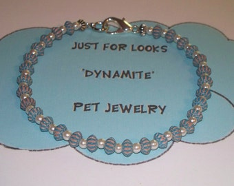 Dog Necklace - Pet Jewelry - Cat Jewelry - Dog Cat - Just For Looks Dynamite Pet Jewelry - Light Blue Turquoise - Handmade jewelry - Donate
