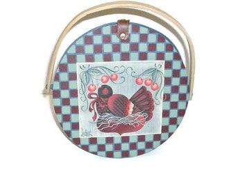 Large Basket With Hand Painted Blackbird on Wooden Lid | Large Slat Basket With Handle