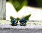 Faux Druzy Stud Earrings, Multi Color Glitter Druzie Posts, Green Rainbow Flower 10 mm Faux Druzy on Titanium Posts