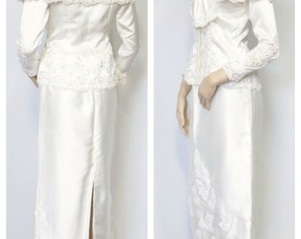 1980's Wedding Dress Suit San Martin Bridal Gown Separates Skirt and Top Pearl Sequin Lace Dress Size Small