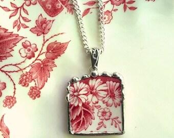 Broken china jewelry - broken china pendant necklace, vintage Johnson Bros Strawberry Fair red transferware, broken plate
