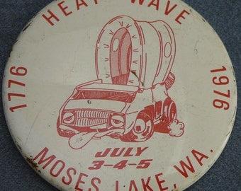 1970's Boogie Van Pinback Button Heat Wave 1976 Bicentennial