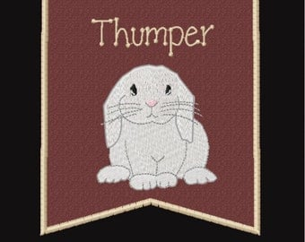Rabbit- Lop Bunny Cage Banner Personalized