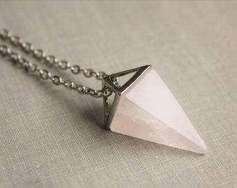 Rose Quartz Geometric Necklace. Gemstone Necklace.