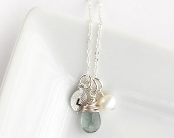 Sterling Silver Initial and Birthstone Necklace - You Choose Gemstone - Mongram - Gift for Her Under 50 - Silver Gemstone Necklace