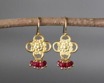 Ruby Earrings - Red Gemstone Earrings - Gold Dangle Earrings - July Birthstone - Chandelier Earrings - Special Occasion Jewelry - Gift