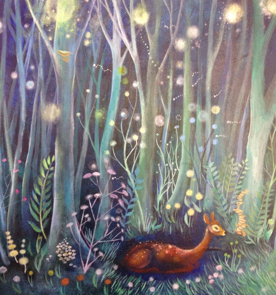 Enchanted nightime forest painting acrylic painting original for Painting a forest in acrylics