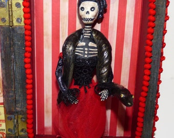 Skeleton Art Doll - Vintage Carnival Shadow Box - Paper Clay Doll - Creepy Doll