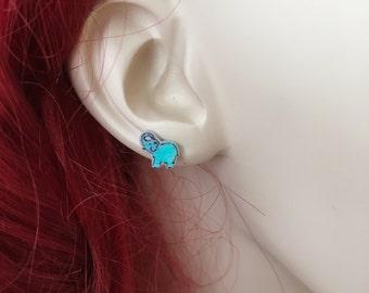 Teal Elephant Earrings, Happy Tiny Elephant Earrings Small Elephant Jewelry, Handmade Earrings, Shrink Plastic Jewelry, Light Blue Elephants