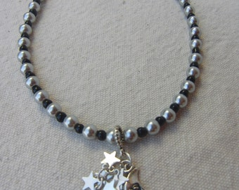 Moon and Stars Beaded Charm Necklace