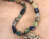 Vintage Foo Dog Necklace Chinese Lion Dog w Chunky Blue Gemstone Nuggets Ornate Silver Ethnic Asian Jewelry
