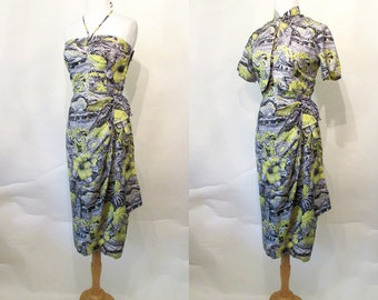 "Amazing ""Alfred Shaeen"" 1950's Silk Sarong Hawaiian Dress Bolero & Mandarin Collar Vintage Hawaiian Tiki Pool Party Rockabilly Size-Small"