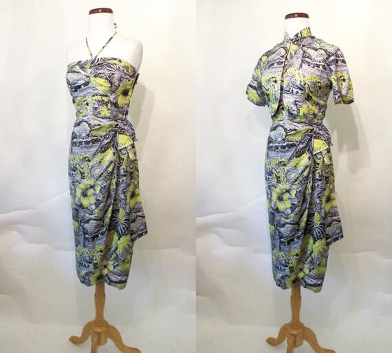 """Amazing """"Alfred Shaeen"""" 1950's Silk Sarong Hawaiian Dress Bolero & Mandarin Collar Vintage Hawaiian Tiki Pool Party Rockabilly Size-Small"""